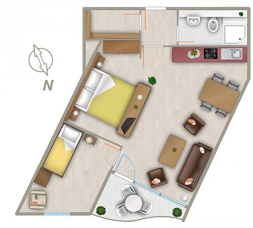 2 zimmer ferienwohnung trafalgar app 226 in cuxhaven doese. Black Bedroom Furniture Sets. Home Design Ideas